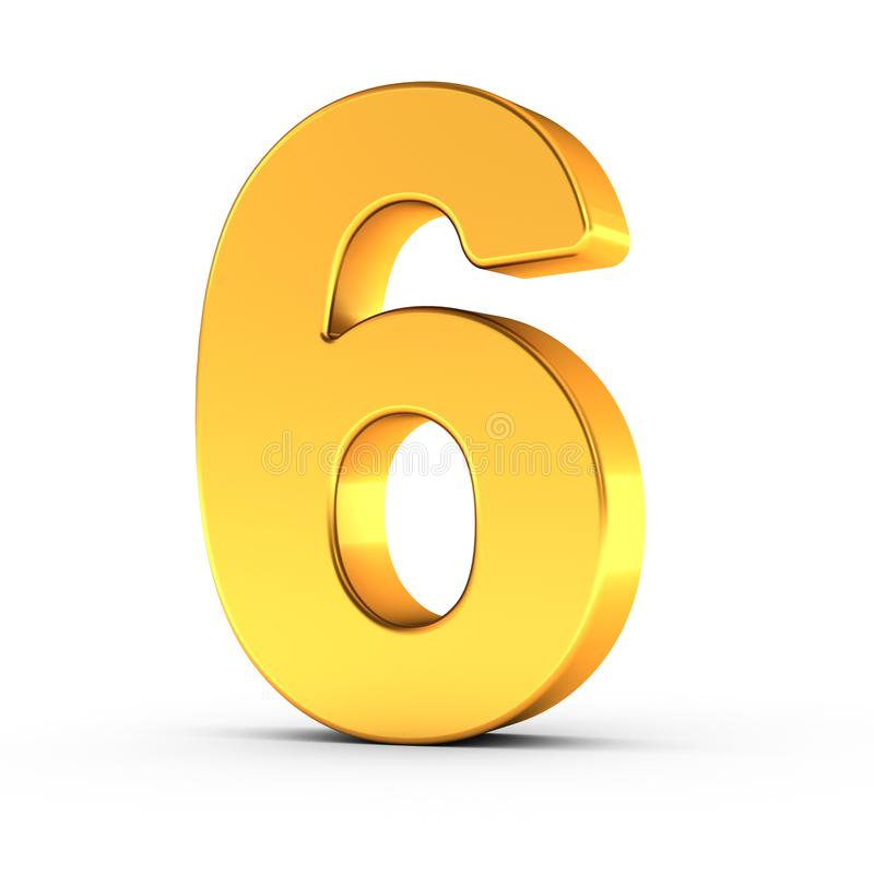 The number six as a polished golden object with clipping path stock photography