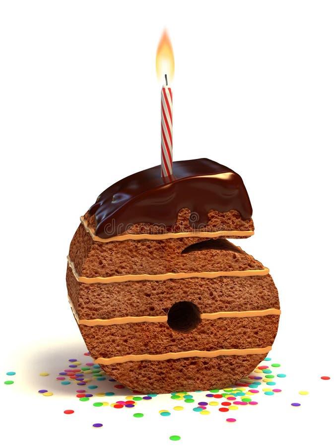 Number six shape birthday cake stock illustration