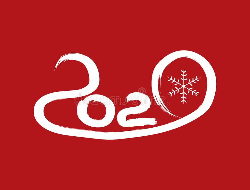 Number 2020 and snowflake drawn by hand with watercolor brush. Paint, sketch, brush, graffiti. New Year vector illustration stock illustration