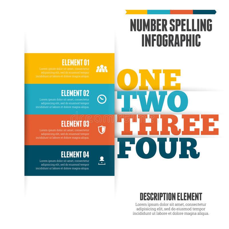 Number Spelling Infographic. Vector illustration of number spelling infographic design element vector illustration