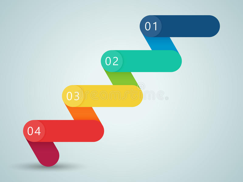 Number Steps 3d Infographic 1 to 4 B royalty free illustration