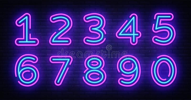Number symbols collection neon sign vector. Design element number template neon icon, light banner, neon signboard. Nightly bright advertising, light vector illustration