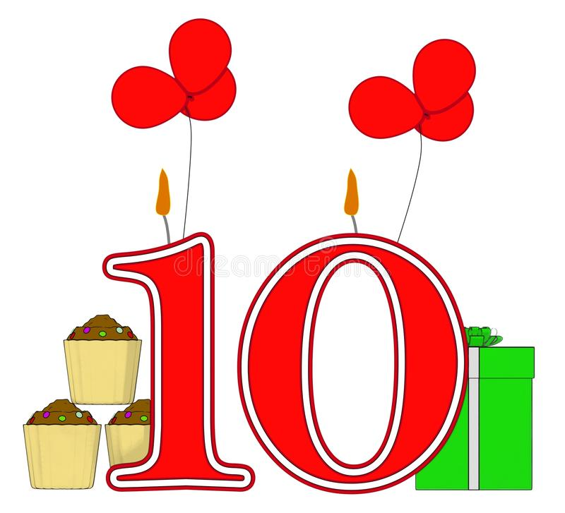 Number Ten Candles Mean Birthday Presents And Stock