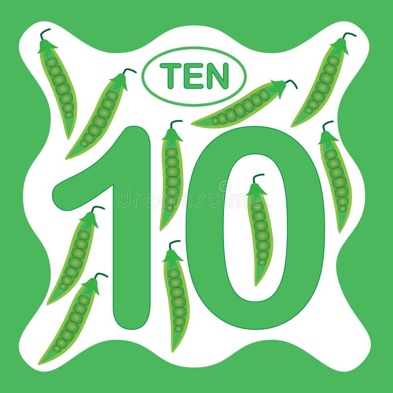 Number 10 ten, educational card, learning counting vector illustration