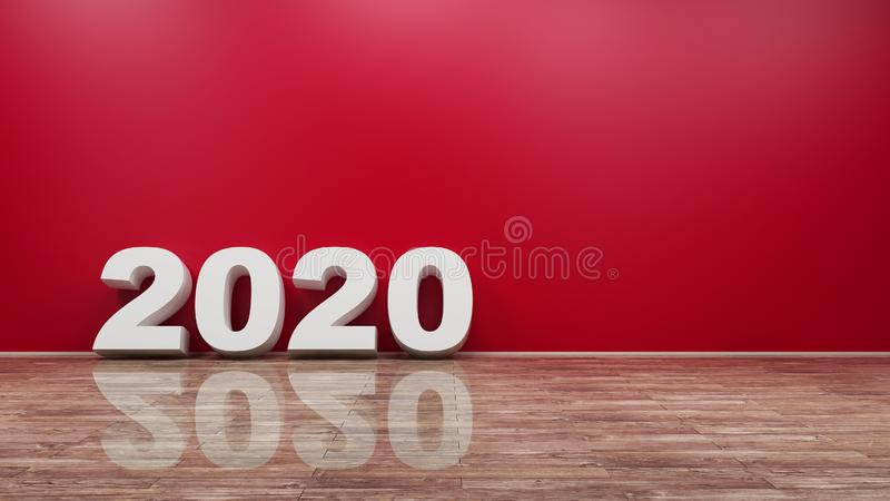 2020 Number Text on Wooden Floor Against Wall 3d rendering royalty free illustration
