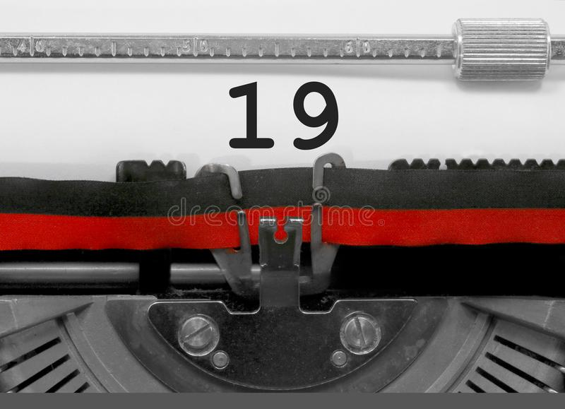 19 Number by the old typewriter royalty free stock photography