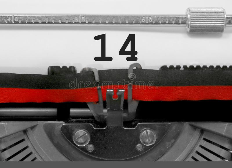 14 Number by the old typewriter on white paper royalty free stock images