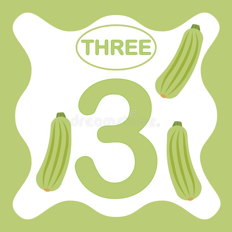 Number 3 three, educational card, learning counting stock illustration