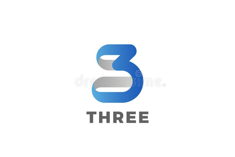 Number 3 Three Logo design vector template Ribbon Font style Typography 皇族释放例证