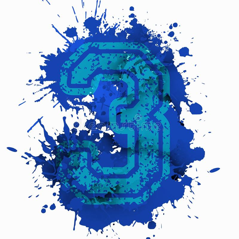 Number three over bluish stain. vector illustration
