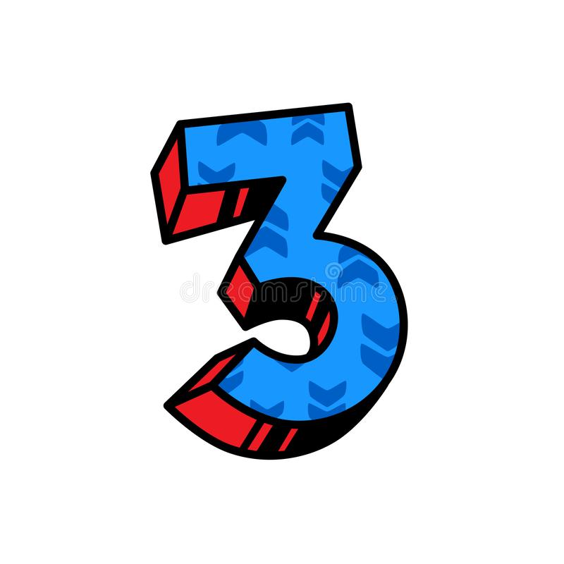 The number three with a pattern of arrows. Vector. Flat outline style. Logo for the company. Blue orange fill. Number 3. Brand. Name royalty free illustration