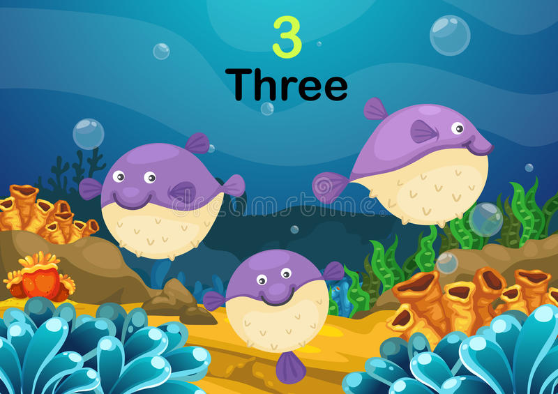 Number three puffer fishes the sea vector stock illustration