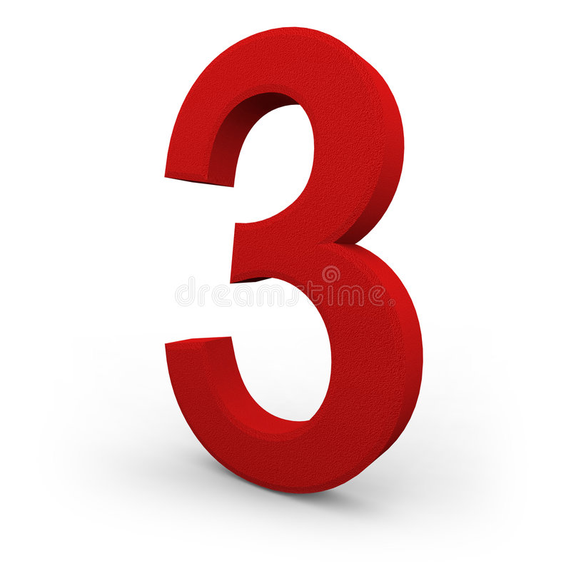 Number Three on White Background. A red number three with texture sits on white background stock illustration