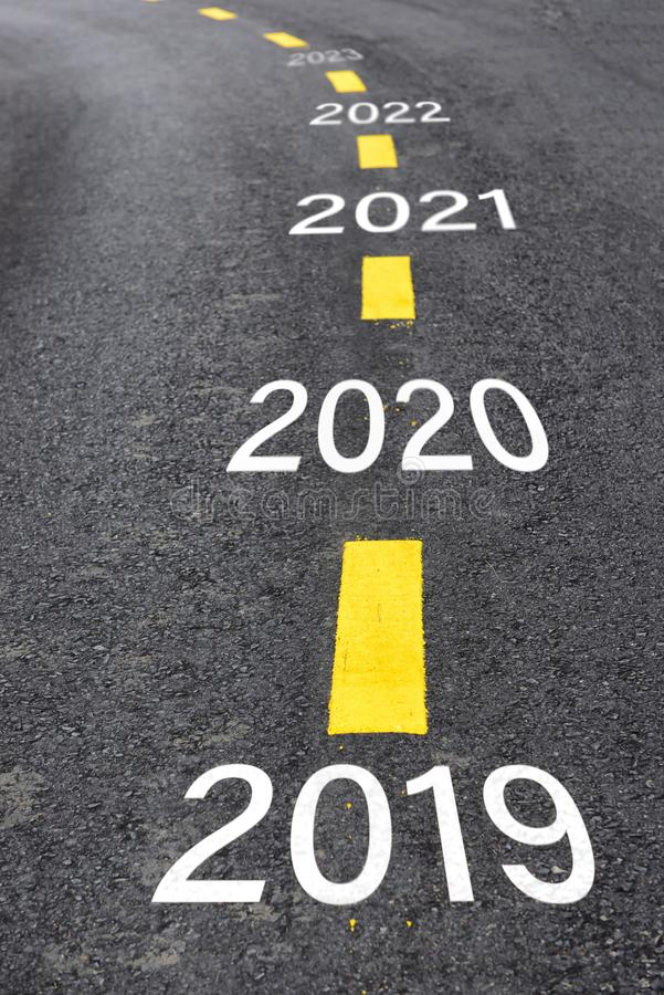 Number of 2019 to 2023 on asphalt road surface royalty free stock images
