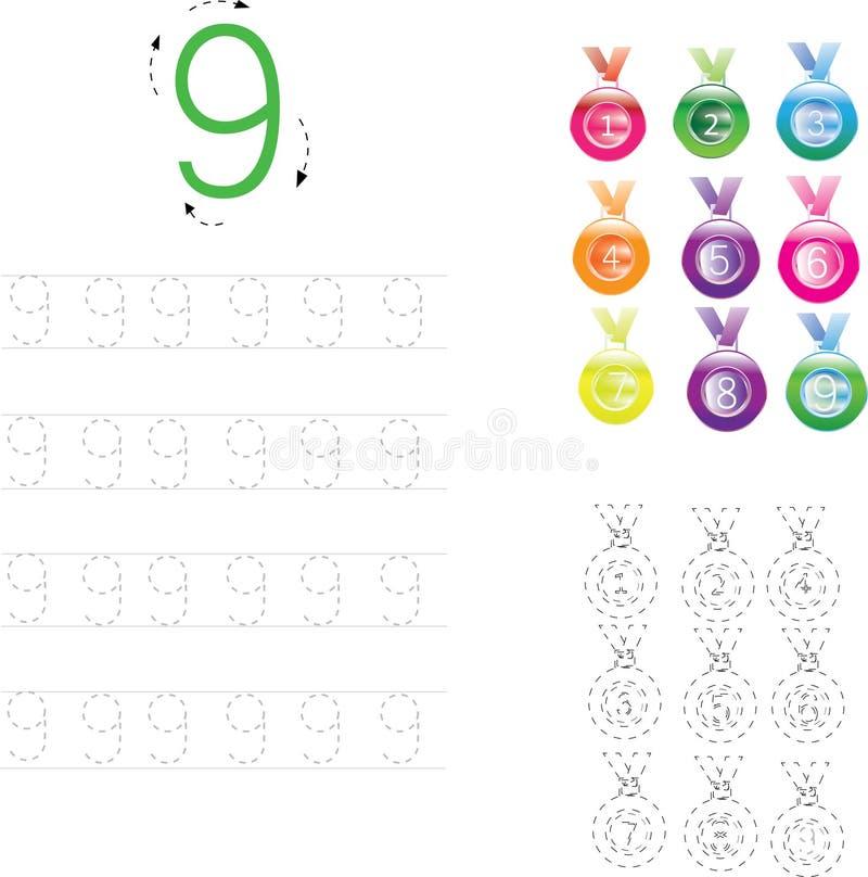 Number Tracing Worksheet four, 0-9 royalty free illustration