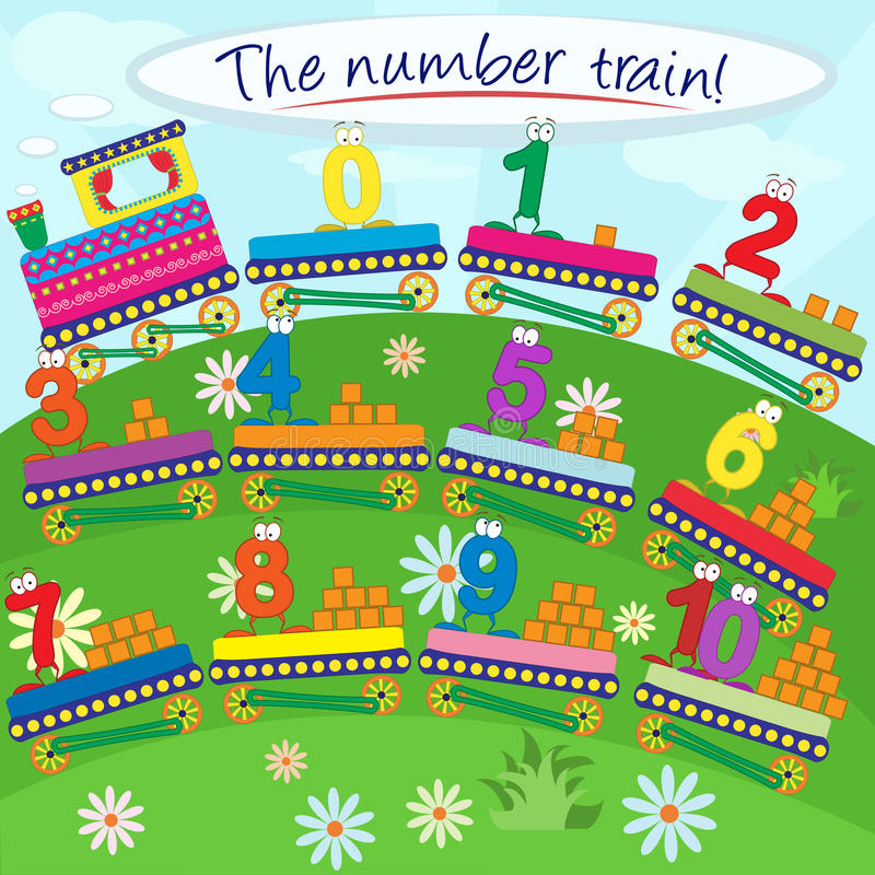 The number train vector illustration