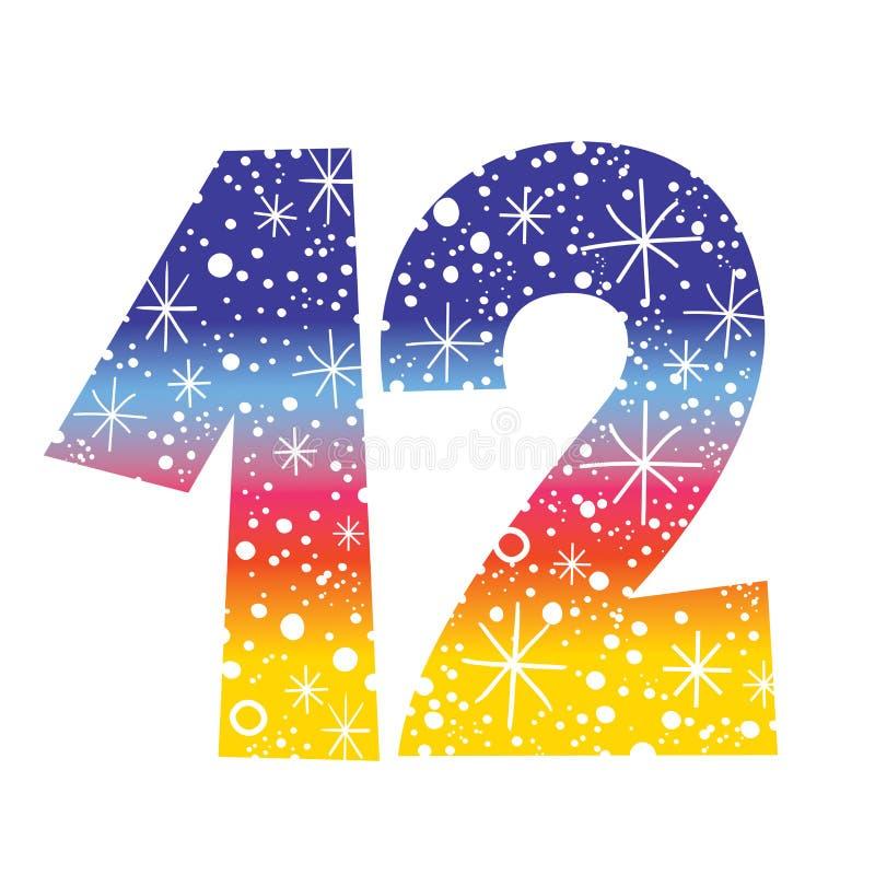 Number Twelve Stock Vector  Illustration Of Snow  Sparkle