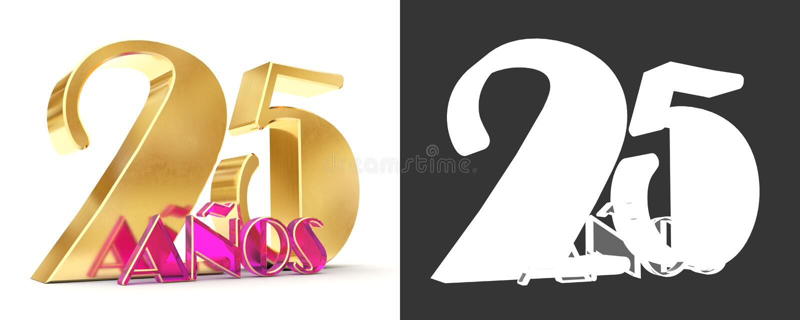 Number twenty five years 25 years celebration design. Anniversary golden number template elements for your birthday party. Trans. Lated from Spanish - Years. 3D stock illustration