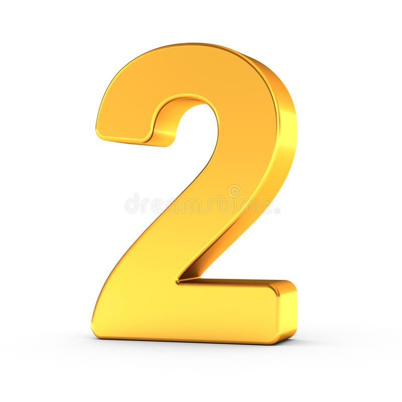 The number two as a polished golden object with clipping path stock images