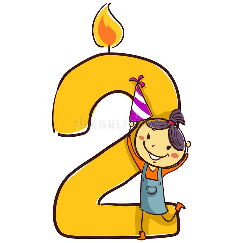 Vector Illustration of Number Two candle with stick Figure Little Girl Kid holding a party hat. Number Two candle with stick Figure Little Girl Kid holding a royalty free illustration