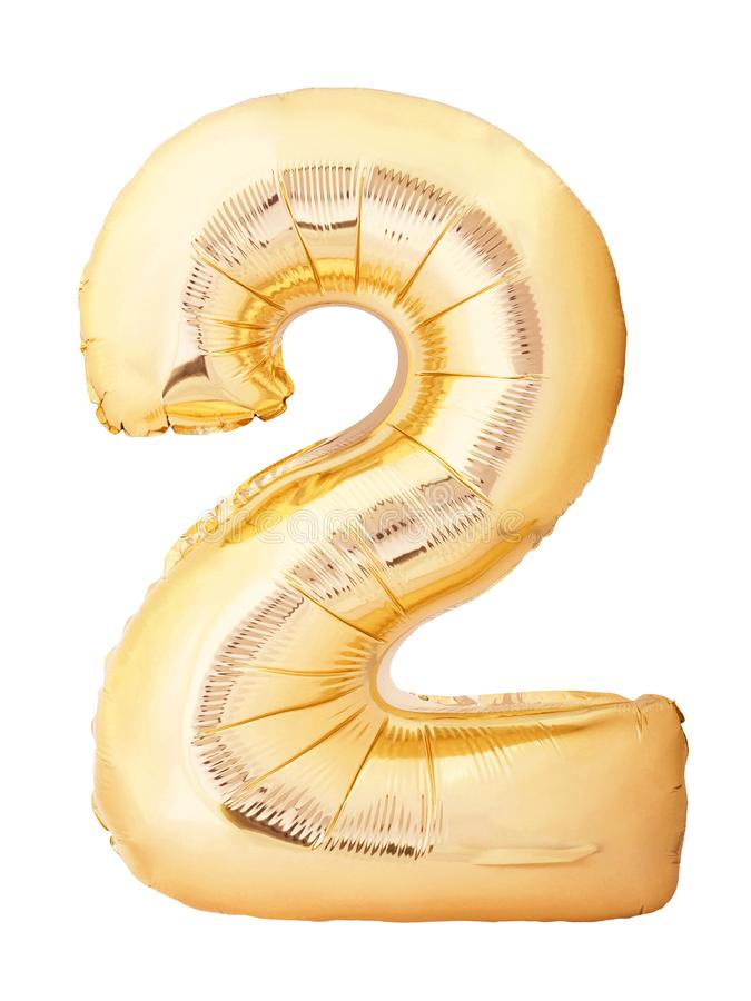 Number 2 two made of golden inflatable balloon isolated on white background. Helium balloon two 2 number. Discount and sale or birthday concept stock photography