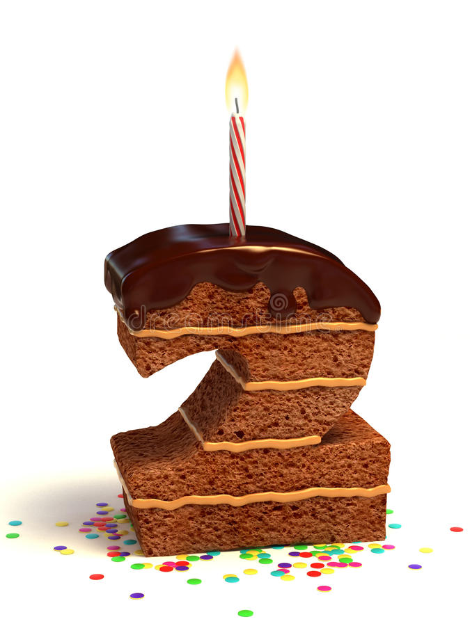 Number Two Shape Birthday Cake Stock Photo