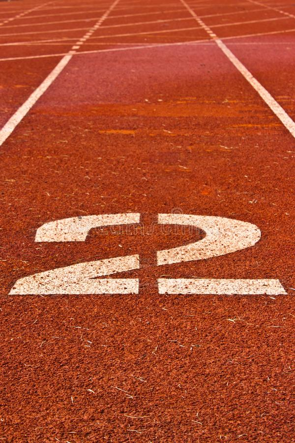 Number two on the start of a running track stock photography