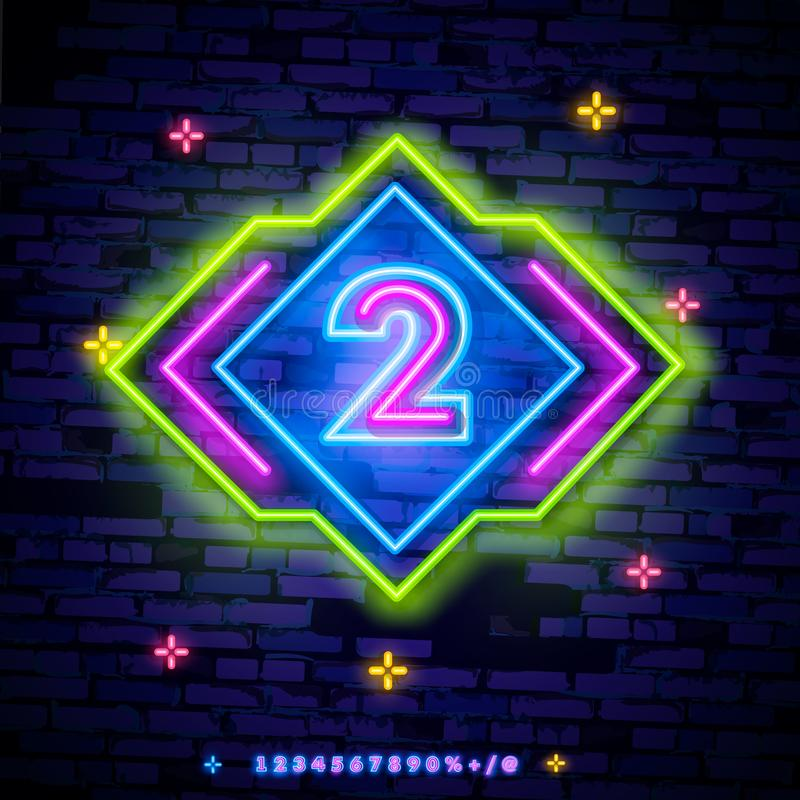 Number two symbol neon sign vector. Second, Number two template neon icon, light banner, neon signboard, nightly bright royalty free illustration