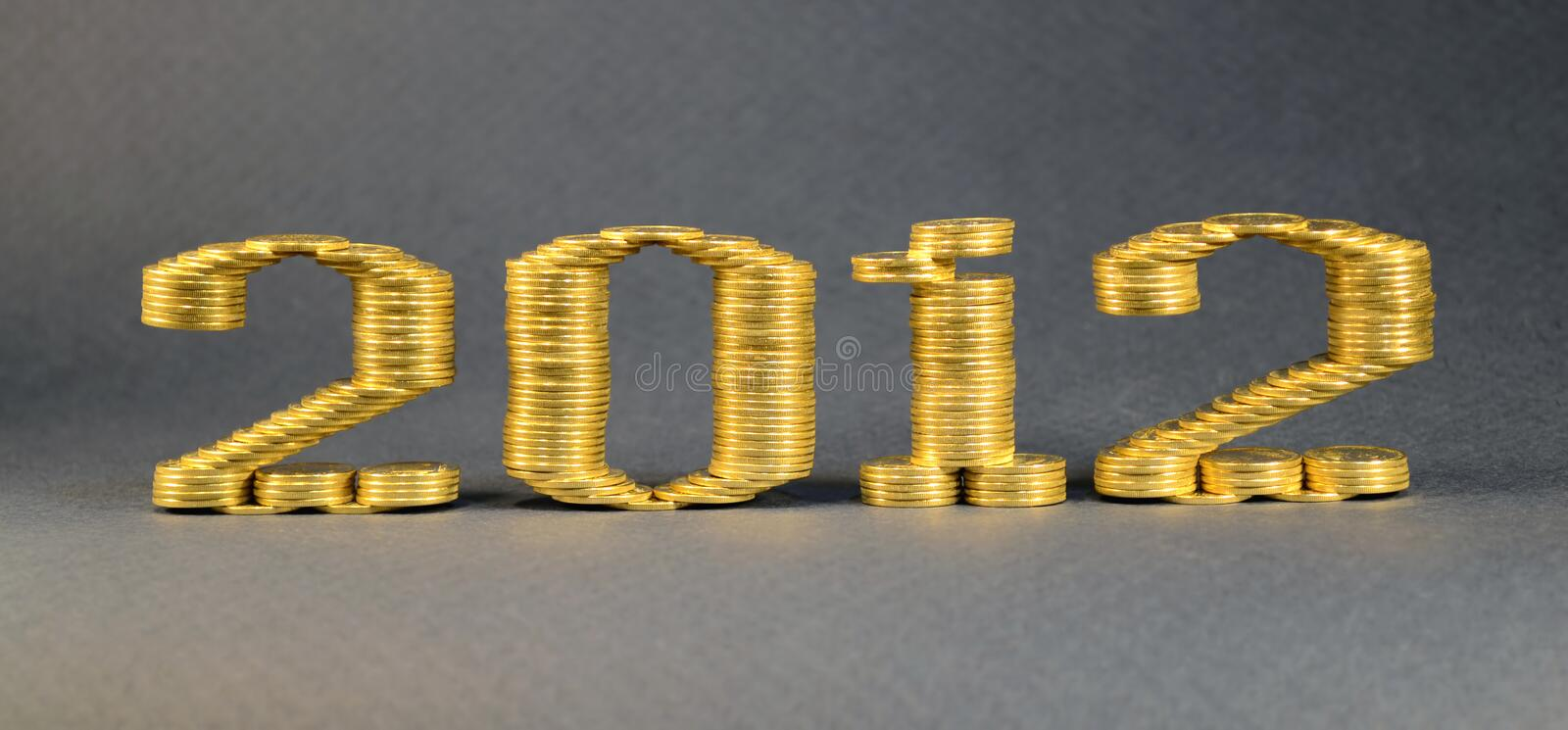 Number Two Thousand Twelfth Laid Stacks Of Coins Royalty Free Stock Photo
