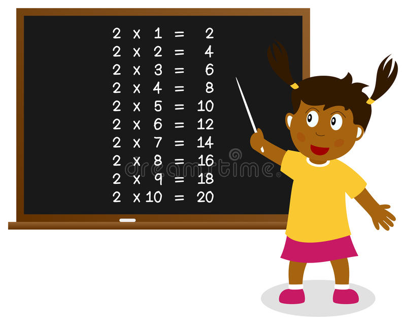 Number Two Times Table on Blackboard stock illustration