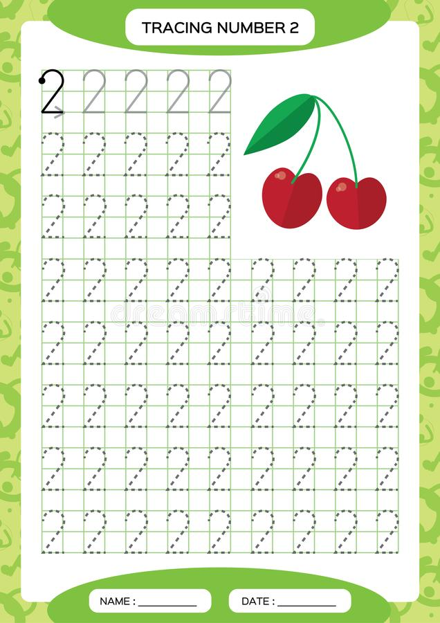 Number 2. Two Tracing Worksheet. Cherry berry. Preschool worksheet, practicing motor skills - tracing dashed lines. A4. Green. Vector stock illustration