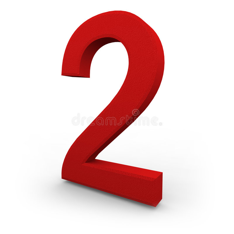 Number Two on White Background. A red number two with texture sits on white background vector illustration