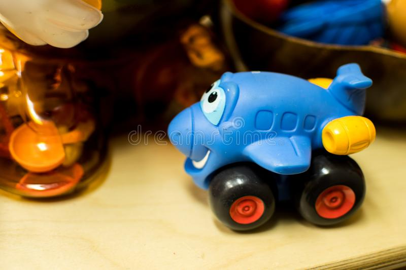 Play time at the Daycare. A number of types of toys found at a simple daycare, kindergarten class, or even in one`s home stock images