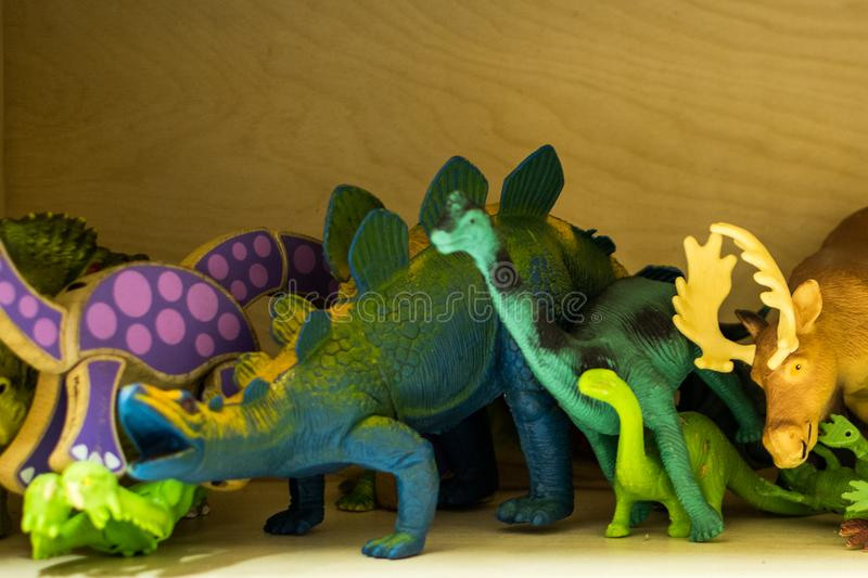 Play time at the Daycare. A number of types of toys found at a simple daycare, kindergarten class, or even in one`s home stock photos
