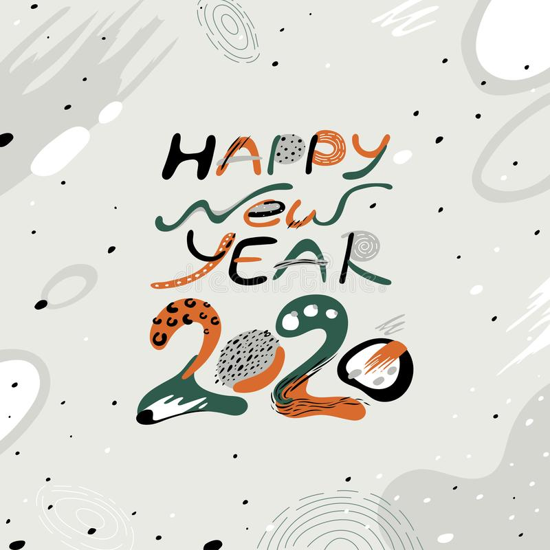 Number 2020. Vector decorative object. Greeting card with inscription Happy New Year 2020. stock photo