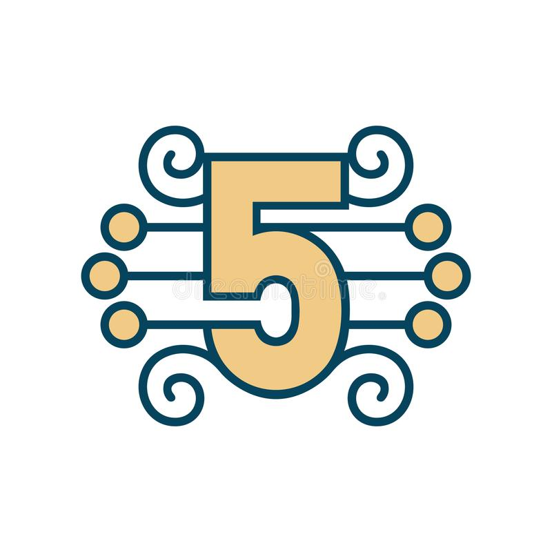 Number 5 vector sign stock illustration