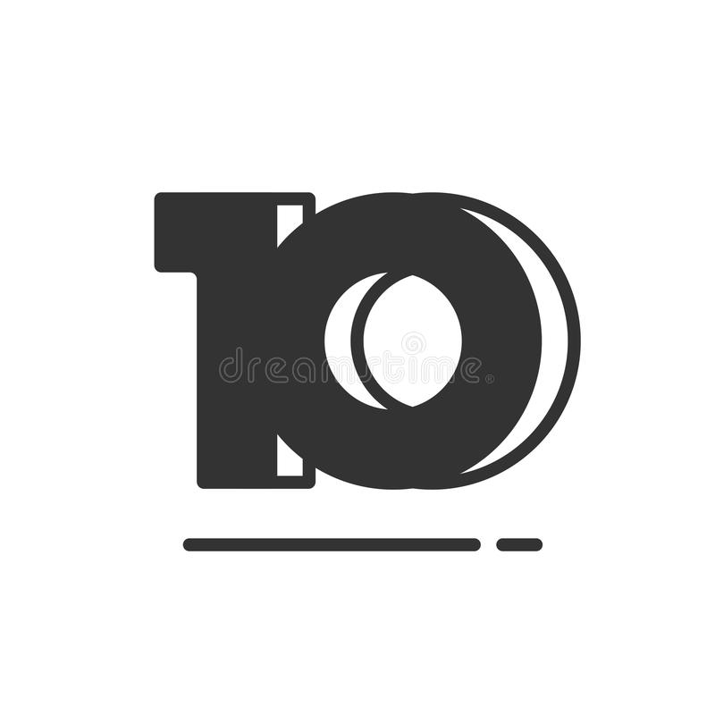 Download Number 10 Vector Symbol Simple Black And White Ten Text Icon Isolated Flat