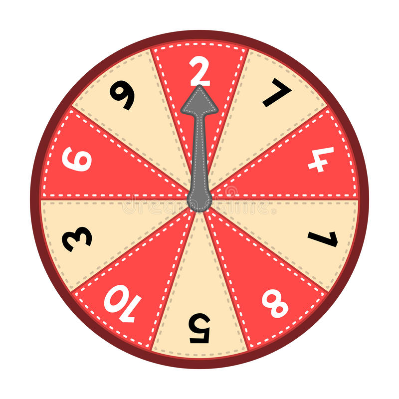 Number Wheel 1-10. Vector number wheel showing numbers 1-10 in a random odd-even order. Assets are on separate layers with dashed strokes stock illustration