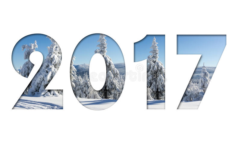 2017 number from winter mountains photo on white background. For calendar, flyer, poster, postcard etc. Winter colors stock illustration