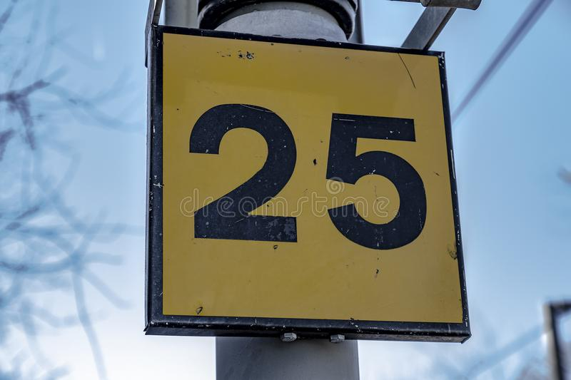 The Number 25 stock image