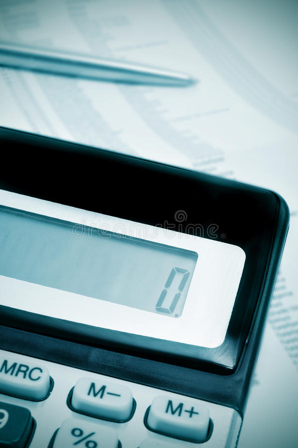 Naught, zero. Number zero, on the display of a calculator, symbolizing naught, ruin, bankruptcy royalty free stock image