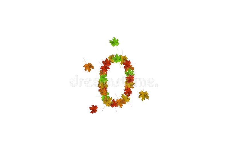 Number zero made with autumn leaves isolated on white. Fall concept. Organic digits from 0 to 9 stock photography