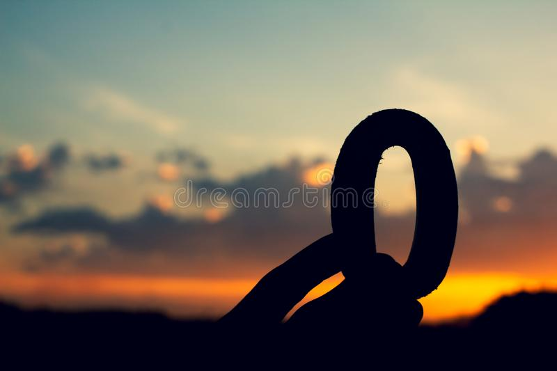 Number zero, sign symbol of wooden  text on evening nature sunset ,beautiful cloud royalty free stock image