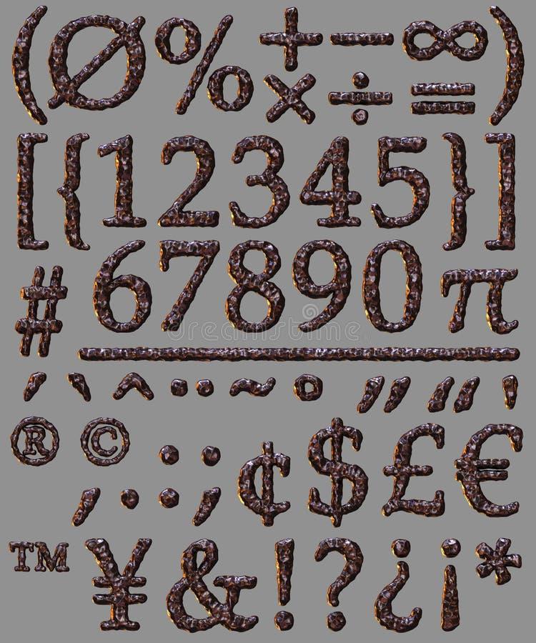 Numberal matematycznie symbolu kamienia listu set royalty ilustracja