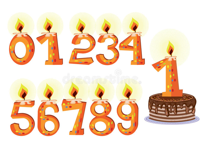 Download Numbered Birthday Candles stock vector. Illustration of decoration - 18065806