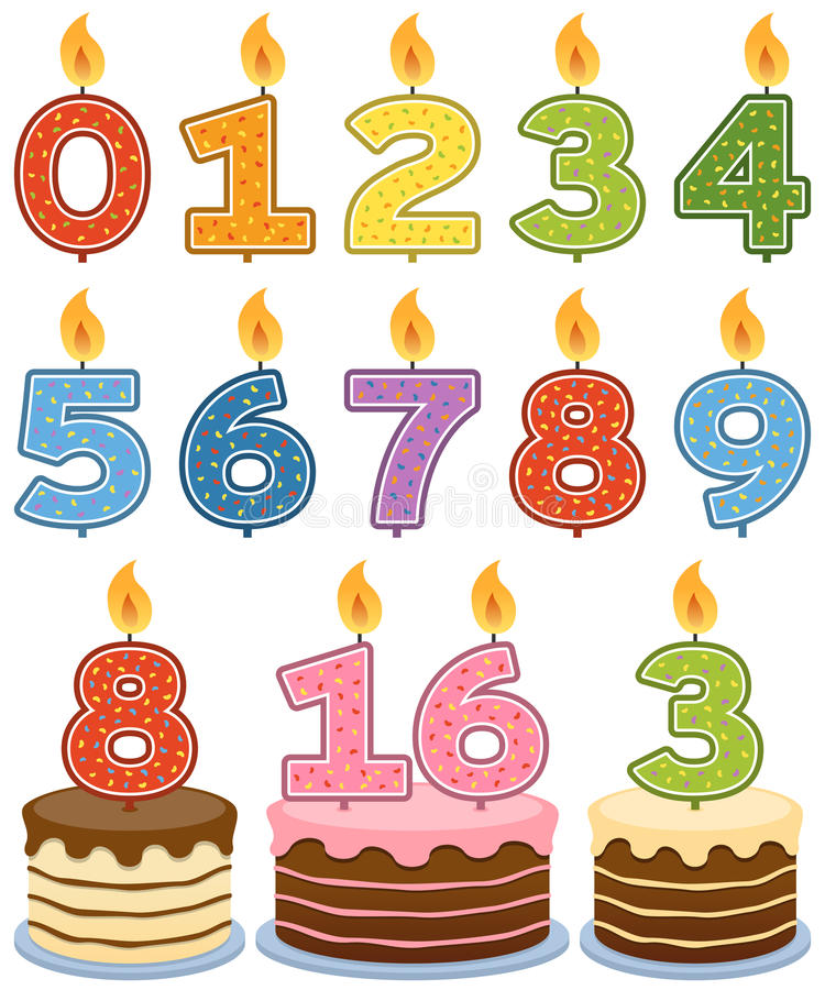Numbered Birthday Candles. With cakes, isolated on white background. Eps file available