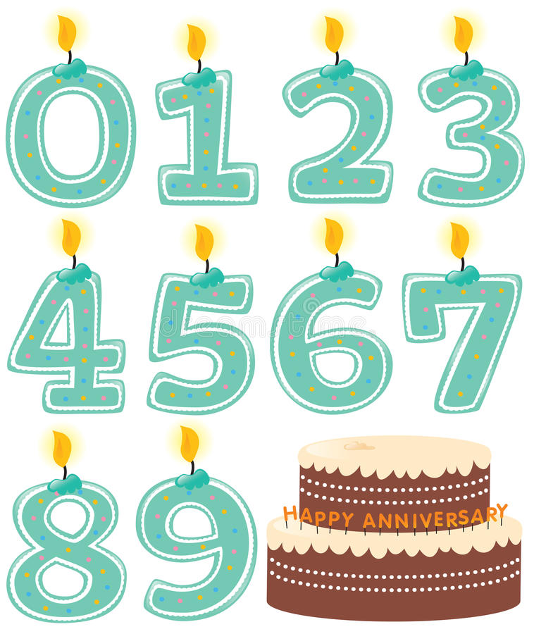 Numbered Candle Set and Cake vector illustration