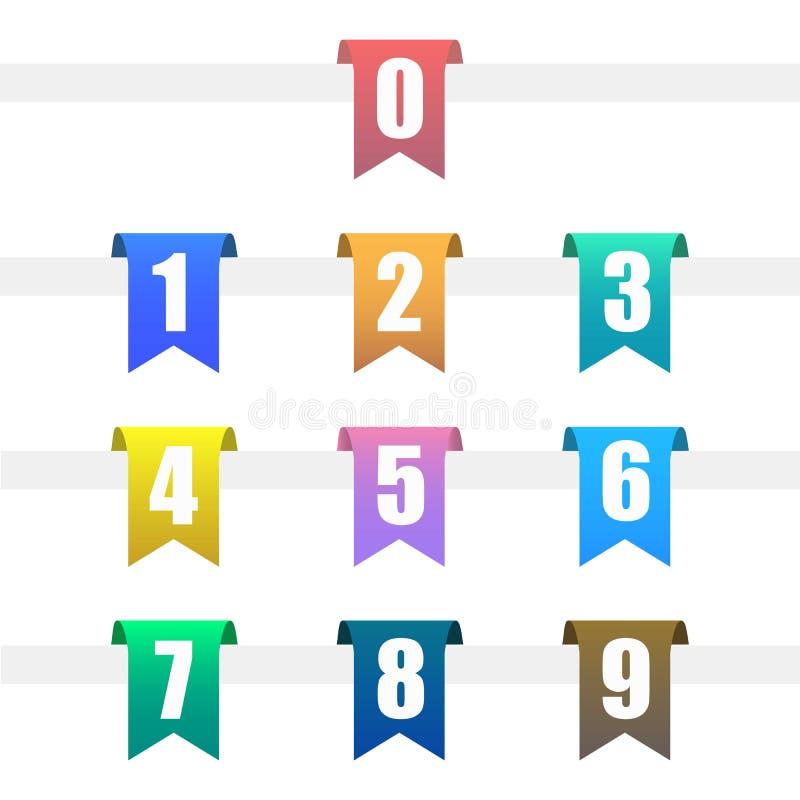 Numbered Hanging Ribbon. Colorful Set of Numbered Hanging Ribbon royalty free illustration