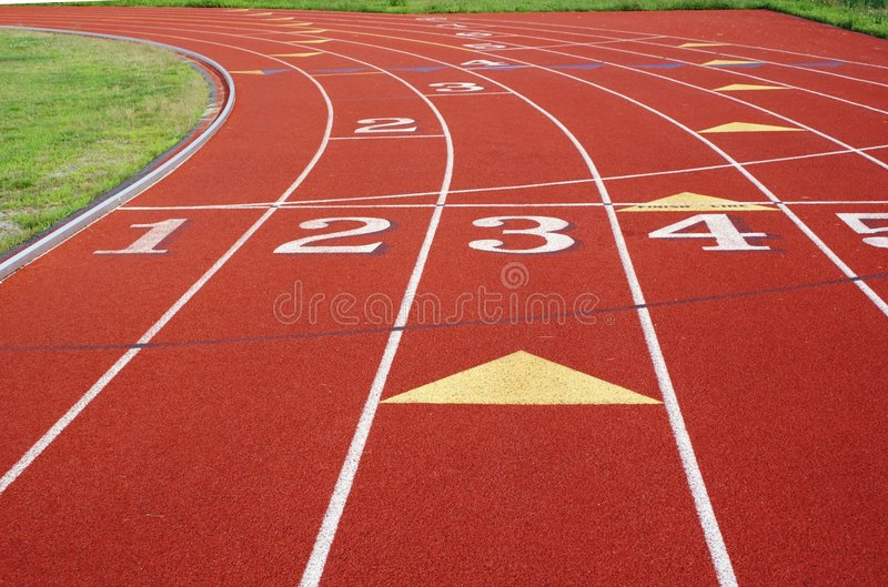 Numbered lanes on a track. royalty free stock images