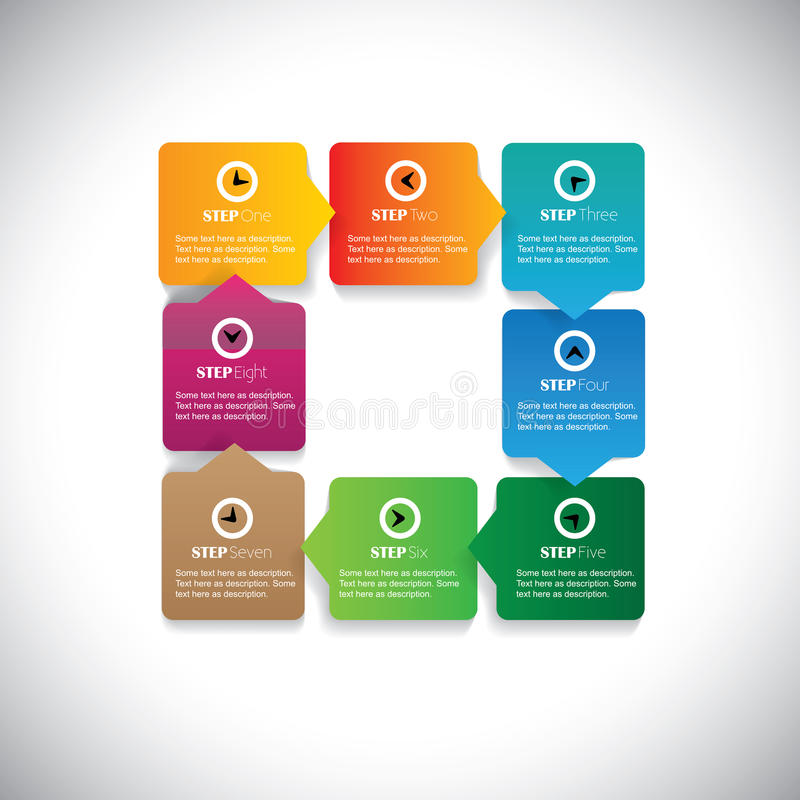 Numbered sequence of steps flow - colorful vector infographic. This simple graphic can be used in marketing materials, websites & webdesigns, business vector illustration